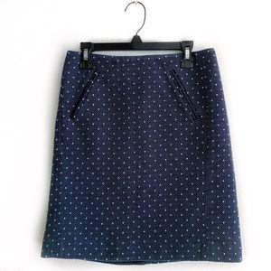 LOFT Navy Tiny Dot Shift Skirt with pockets